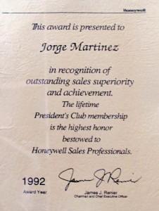 Currículum Jorge Martinez President's Club Award