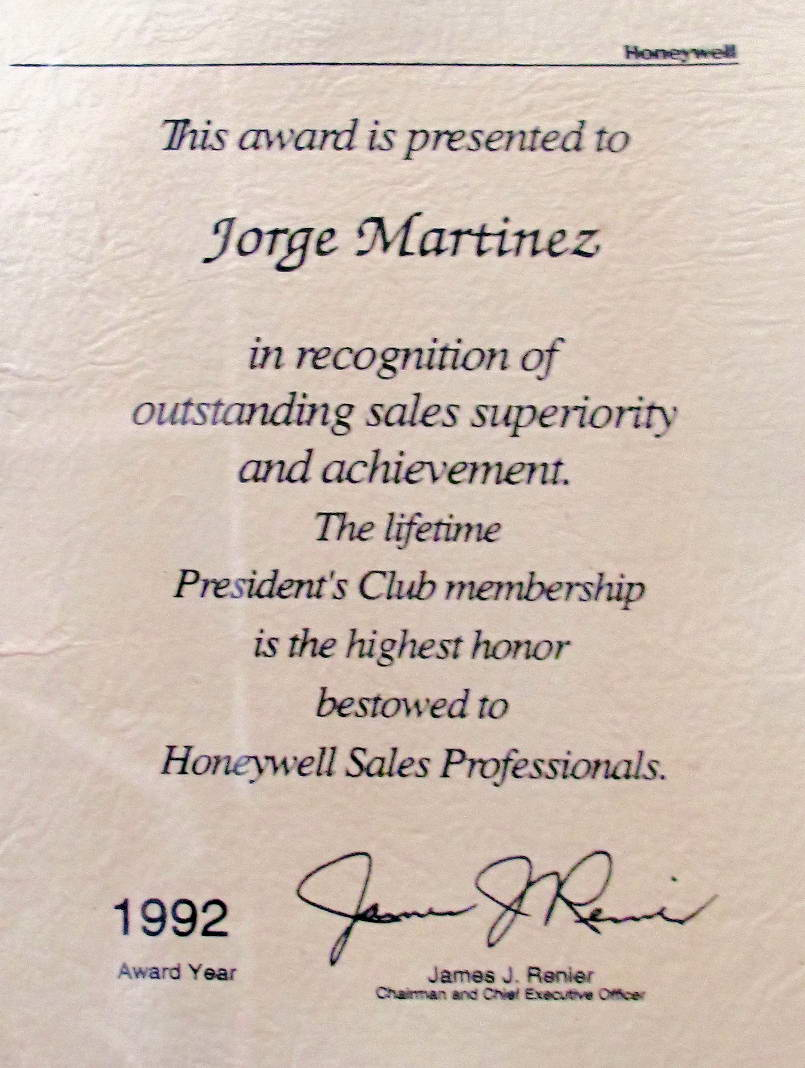Jorge Martinez president's club award