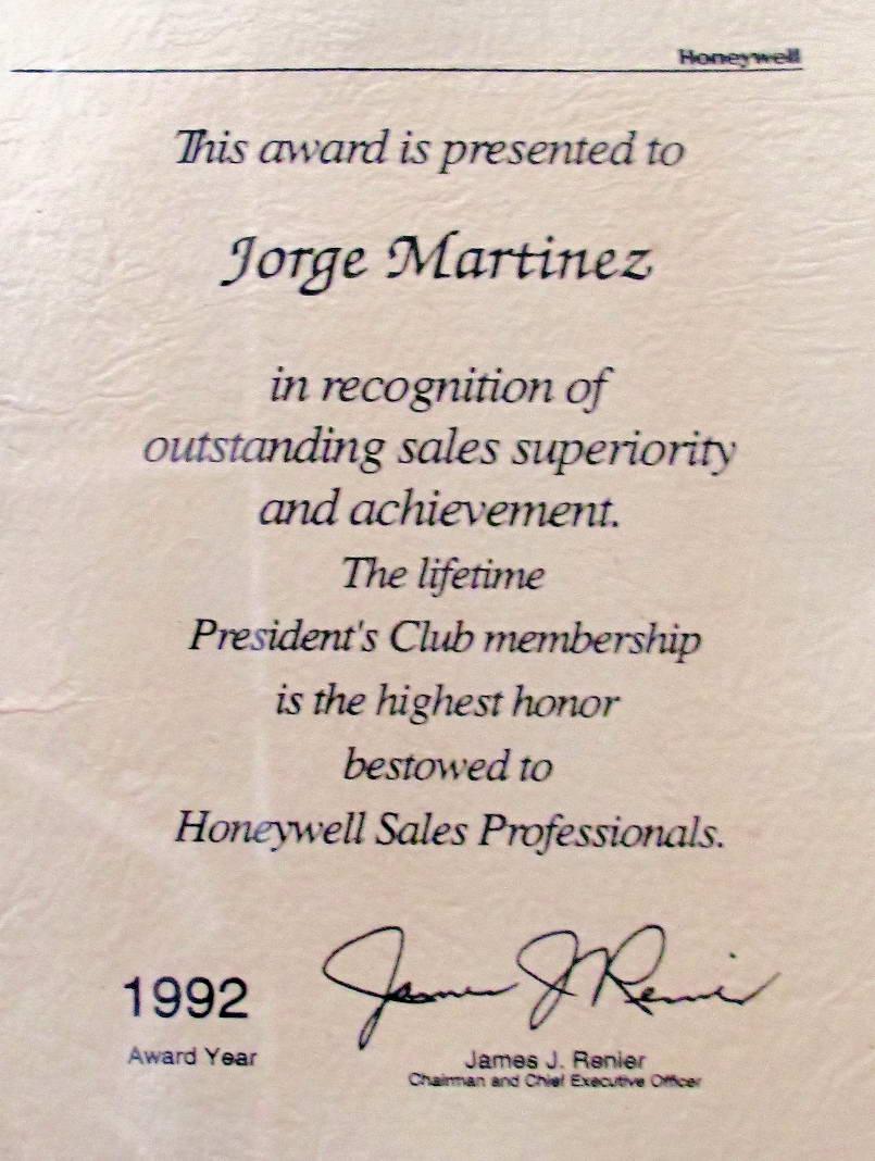 Jorge Martinez president's club award