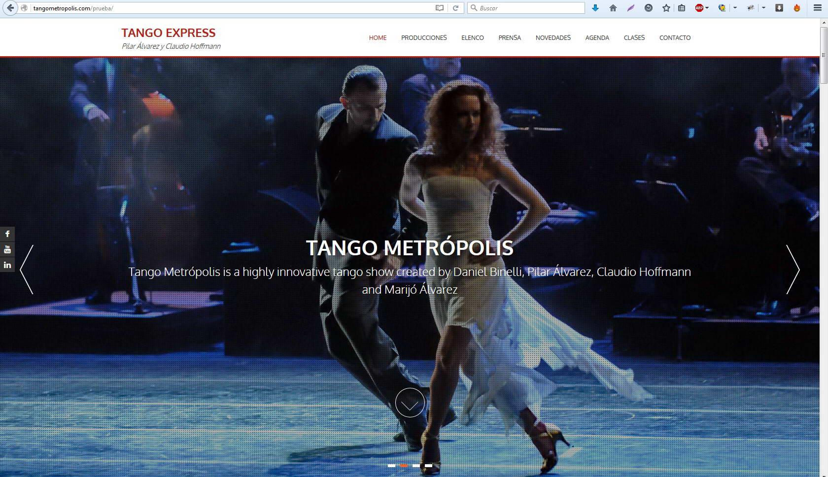 Webs: Tango Express, Claudio Hoffmann y Pilar Álvarez